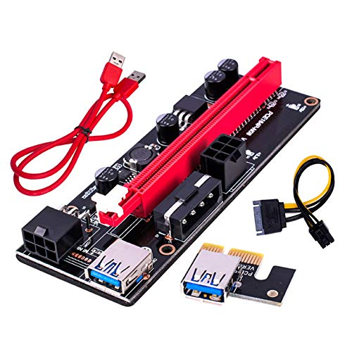 ZHURGN PCI-E Riser Extender, Riser Card Adapter, 60cm USB 3.0 Cable, 4 Solid Capacitors, Two 6PIN and Molex 3 Power Options