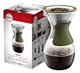 Osaka Pour Over Coffee Maker with Reusable Stainless Steel Drip Filter, 37 oz (7-Cup) Glass Carafe and Lid 'Senso-JI', Green