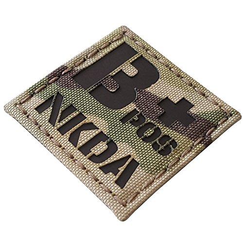 Multicam Infrared IR BPOS NKDA B+ Blood Type 2x2 Tactical Morale Hook&Loop Patch
