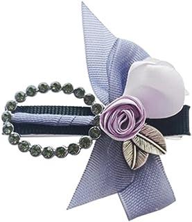 Osize 美しいスタイル カラーフラワーリーフヘアクリップフラワーラインストーンオーバルラインストーンダックビルクリップ(パープル)