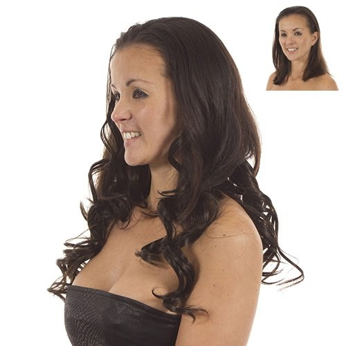 Brun cacao extensions de cheveux a clips synthetiques | 5 bandes de double et triple couches pour la