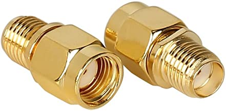 RF Design SMA Female to RP-SMA Male 2 Pieces coaxial Coax Adapter Coupling Nut Connector Golden