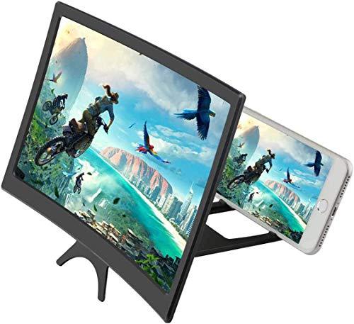Amplificador de lupa de pantalla de teléfono con diseño de superficie curvada, aumento de la pantalla de smartphone de 12 pulgadas 3D zooms de 2 a 6 veces para teléfono inteligente (negro1)