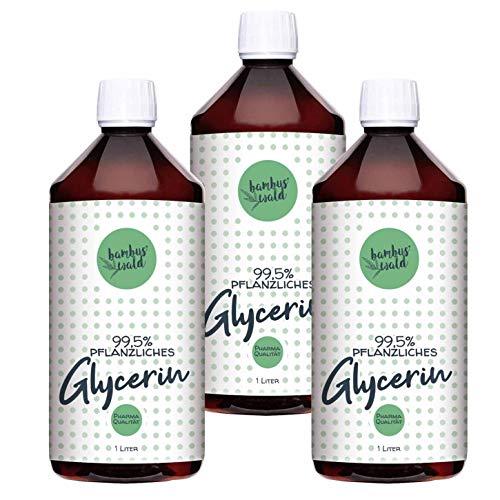bambuswald© 3 litres de glycérine végétale (3x bouteilles de 1000ml) - glycérine liquide & transparente - qualité MADE IN GERMANY   qualité pharmaceutique pour les savons crèmes Sisha cosmetics