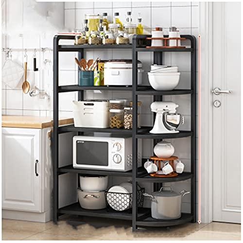 Estanterías Cocina Hogar Microondas Microondas Suministros de almacenamiento Rack Hogar Multi-capa Cocina Refrigerador Rack Rack black5-138CM