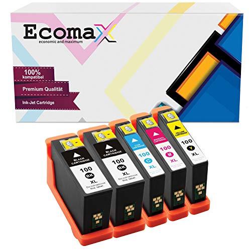 Ecomax 5 Tintenpatronen kompatibel zu Lexmark 100XL Interact S605 S600 Series Interpret S405 S505 Platinum Pro 900 Series Pro 901 905 Prospect Pro 205