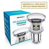 Bächlein Universal Ablaufgarnitur mit Überlauf für Waschbecken & Waschtisch - Chrom Pop Up Ventil...