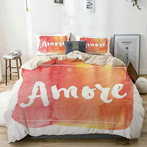 Juego de funda nórdica Beige, Love Theme Italian Way Fondo entintado de mandarina con estampado de pinceladas Juego de cama de 3 piezas decorativo multicolor con 2 fundas de almohada Sofá antialérgico