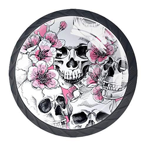Las manijas del cajón tiran el vidrio de cristal redondo para el hogar, la cocina, el tocador, el armario, el cráneo y las flores, rosa, cereza, rosa, cereza, flores y calavera