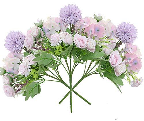 Hawesome 3 Stücke Blumenstrauß künstliche Hortensie Rose Kunstblumen Hochzeit Dekoration Braut Bouquet Blumenarrangement Esstisch Fensterbank Wohnzimmer Büro Dekor in weiß rosa Blue viollet ohne Vase