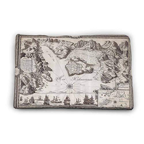 """Ahuimin Pet Mat Old Map Warships Countries Kingdoms Locations Geographical Picture Pattern Absorption Pad Sleep Bed for Dogs Cats 31"""" x 21"""" Tan Beige Brown"""