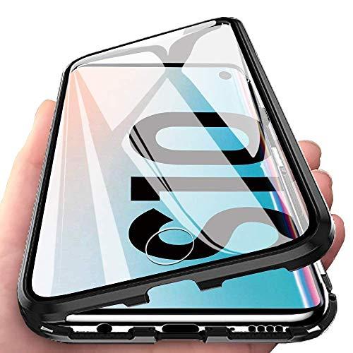 Orgstyle Hülle für Samsung Galaxy S10, Magnetische Hartglas Case mit Vorderseite und Rückseite, Metallrahmen Case mit Eingebaut Magnet, Ultra Dünn 360 Grad Schutzhülle-Schwarz