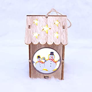 Amaae LED Light Wooden Dolls House Villa Christmas Ornaments Xmas Tree Hanging Decor(Coloe:Multicolor,Material:Wooden)