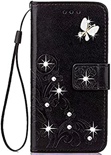 LG G6 2017 Case,LG G6 Wallet Case Handmade 3D Bling Diamond Premium PU Leather Cover Case with Kickstand and ID Holder for LG G6 (Black)
