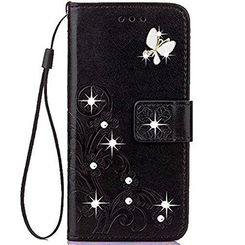 OnePlus 5T Funda, OnePlus 5T Flip Case Fashion Handmade 3D Bling Diamond PU Cuero Flip Case Cover con Tarjetero Folio Wallet Case para One Plus 5T