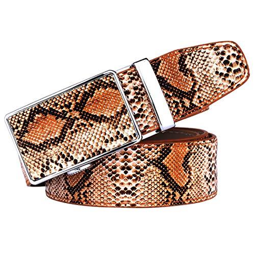 AWX Cintura uomo vero pitone Cintura vera pelle da 40~47 pollici marrone con motivo a serpente a cricchetto Cintura automatica per jeans Scatola regalo (marrone,105cm)