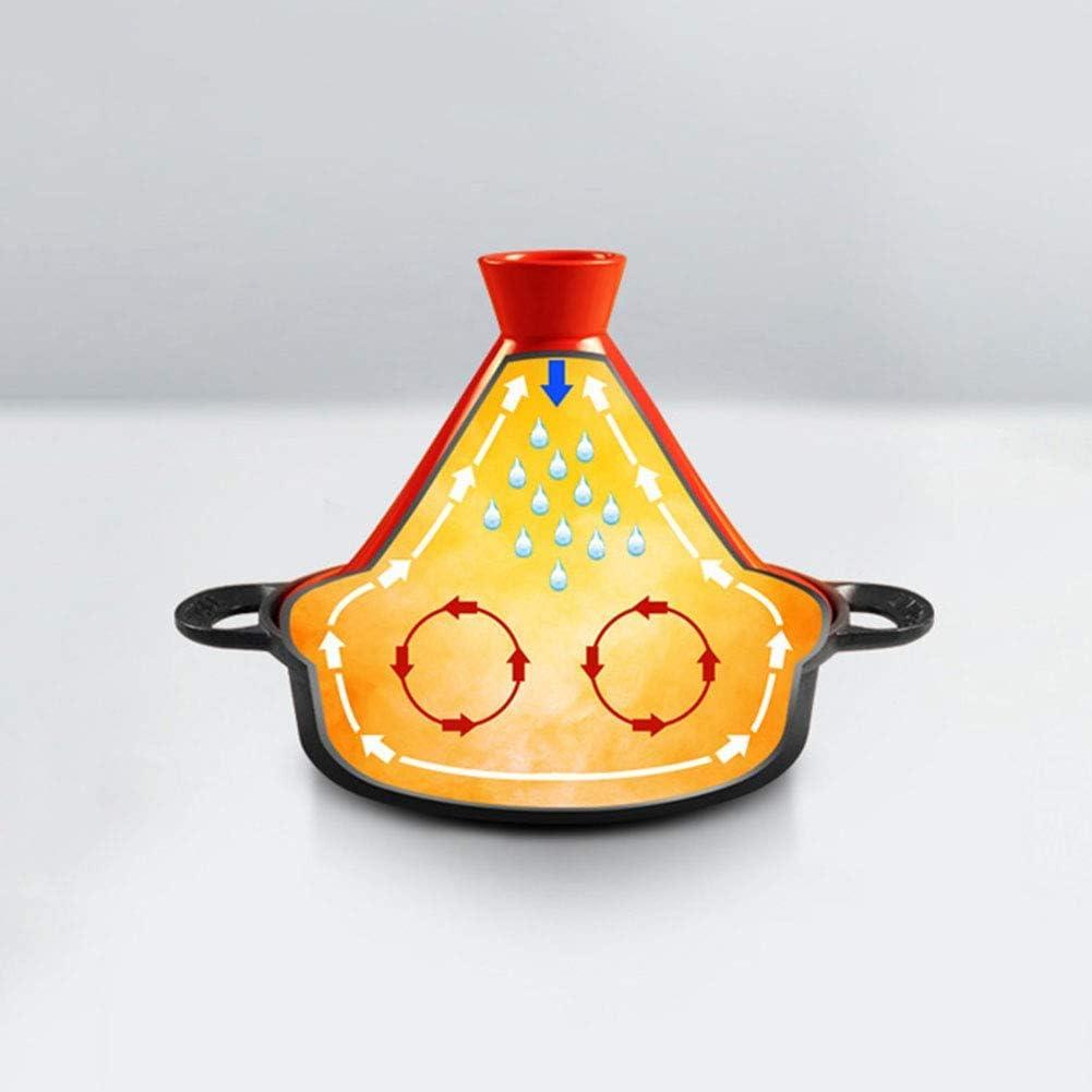 XIAOWEI Marmite Marocaine 26CM Cocotte en Fonte avec Couvercle Entonnoir en grès pour Tous Les Types de plaques Jaune Orange