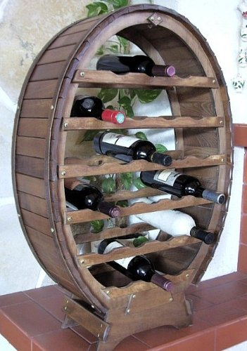 DanDiBo Weinregal aus Holz für 24 Flaschen Weinfass Braun gebeizt Bar Flaschenständer Fass Regal - 3
