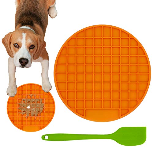 Ley's Dogs Leckmatte (1/2 Pack) Silikon Leckmatte für Hunde mit Spatel, Angstlinderung langsames Füttern, Erdnussbutter, Ablenkungsgerät, Round, Orange