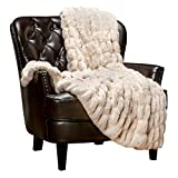 Chanasya Ruched Luxurious Soft Faux Fur Throw Blanket - Fuzzy Plush and Elegant with Reversible Mink Blanket for Sofa Chair Couch Living Room Birthday Gift and Home Decor (50x65 Inches) Off White