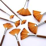 Juego de pinceles de acuarela, 9 pinceles de pintura al óleo, tubo de cobre y nailon, set de pinceles para pintar y dibujar, color marrón