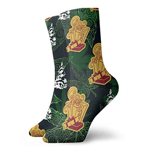ames Calcetines unisex Caja de regalo y marihuana Leafs Fashion Novedad Calcetines deportivos secos