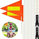 Tatuo 2 Sets 6 Feet Bicycle Safety Flag Pole, Splicing Safety Flag with Bicycle Mounting Bracket, Height Adjustable Waterproof Orange Safety Flag Glass Fiber Pole for Safety Outdoor Cycling Supplies