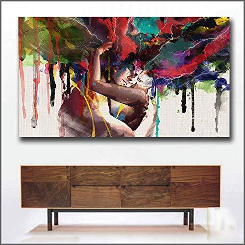 TYBXK Wandbild Lieber Kuss-Ölgemälde-Segeltuch-Kunst-Anstrich for Wohnzimmer-Wand-Dekor-Hd gedruckt Leinwand Poster Dekorative Bilder Zusammenfassung 89 (Color : Unframed, Size : Unframe 24x44Inch)