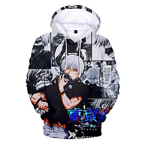 SDCER Sudaderas con Capucha Anime Tokyo Ghoul Kaneki Ken, Sudadera con Capucha Impresa con Estampado 3D para Hombre, Chaqueta Informal Unisex De Streetwear para Fan del Anime-3_140