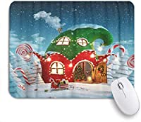 HASENCIV ゲーミング マウスパッド,ドアが開いているエルフの帽子の形でクリスマスに飾られた素晴らしい妖精の家,マウスパッド レーザー&光学マウス対応 マウスパッド おしゃれ ゲームおよびオフィス用 滑り止め 防水 PC ラップトップ