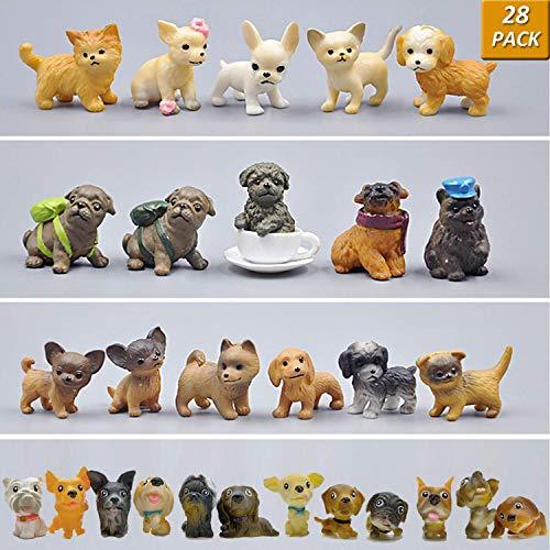 GuassLee Mini Plastic Puppy Dog Figuren für Kinder - 28er Pack High Imitation Detaillierte handgemalte realistische kleine Hundefiguren Spielzeug-Set