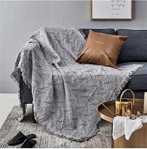 Versátil Algodón Espiga Sofá Sofá Butaca Colcha Banda Tejida a Mano Grande de algodón Sofá Cama Individual Lanza sofá (Color : Gray, Size : 130x180cm)