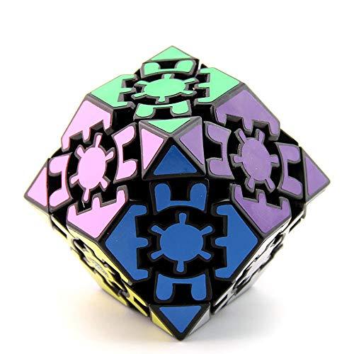Khosd Gear Cube 3D Gear Cubo Shift Velocidad Puzzle Cubo Magic, Clásico Cubo De Engranajes La Velocidad Pegatina Cubo Mágico Irregulares (Negro), 12 Romboedro