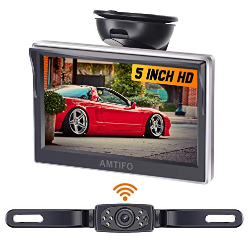 AMTIFO AM-W50 HD Wireless Backup Camera with 5 Inch Monitor License Plate Reverse Camera for Cars,SUVs,Minivans,Parking Camera Crystal Clear Image IP69 Waterproof Super Night Vision