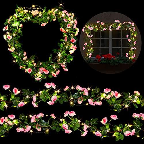 3 Guirnaldas de Vid de Rosas Falsas Plantas de Flores Artificiales de 7,2 Feet con 6 Luces de Cadena...