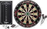 Viper League Pro Regulation Bristle Steel Tip Dartboard Starter Set with Staple-Free Bullseye, Radial Spider Wire, High-Grade Sisal with Rotating Number Ring, Chalk Cricket Scoreboard, Steel Tip Darts