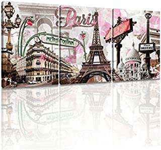 Decor MI Modern Wall Art Pink Paris Eiffel Tower Bedroom Decor Romantic City Paintings Poster Prints On Canvas Framed for Living Room 12x16 inch 3 Panels