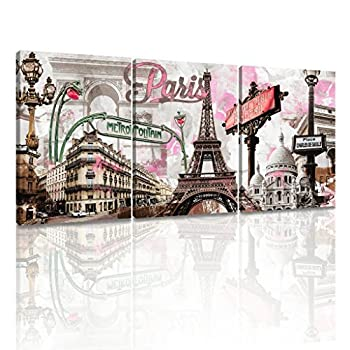 Decor MI Modern Canvas Wall Art Pink Paris Eiffel Tower Canvas Prints Wall Art Romantic French Cityscape Framed Print Paintings for Living Room Bedroom Bathroom Kitchen Office Decor 12x16 inch 3 Panels