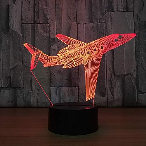 Avion De Voyage 3D Lampe Veilleuse Optique Illusions 7 Changement de Couleur Acrylique Toucher Tableau Lampe de Bureau pour Enfants Chambre Noël Cadeaux d'anniversaire,Interrupteur Tactile