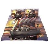 Rorun Vitwin Un Barco Guerrero Crepúsculo bárbaro Cultura escandinava nórdica Impresión de Arte,Juego de Ropa de Cama con Funda nórdica de Microfibra y 2 Funda de Almohada - 240 x 260 cm