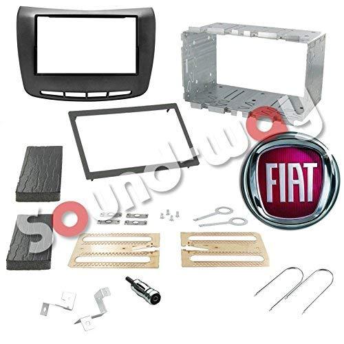 Sound Way - Kit Montage autoradio façade 1 DIN / 2 DIN avec encadrement pour Lancia Delta Noir