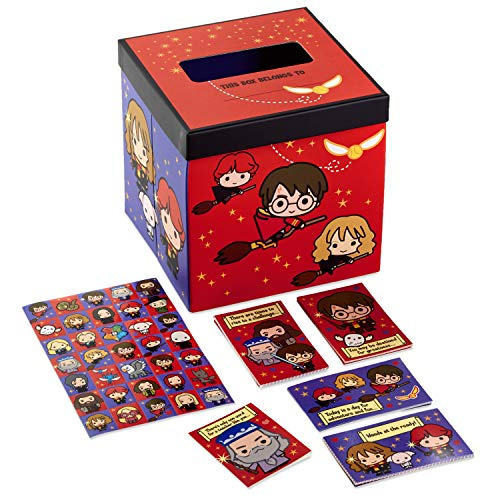 Hallmark Valentines Day Cards for Kids and Mailbox for Classroom Exchange, Harry Potter (1 Box, 32 Valentine Cards, 35 Stickers, 1 Teacher Card), 5VBX2958