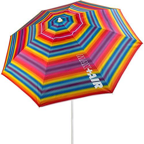 Aktive 62219 - Sombrilla de playa, 220 cm, sombrilla resistente al viento, techo de ventilación, mástil 28-32 mm, protección UV 50, Incluye bolsa de almacenamiento, Aktive Beach