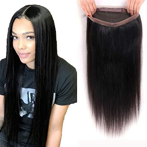 Brazilian Virgin Straight Human Hair360 Lace Frontal Closure Straight Pre Plucked 360 Lace Frontal with Baby Hair Natural Hairline Free Part Natural Black Color(14Inch, 360 frontal)