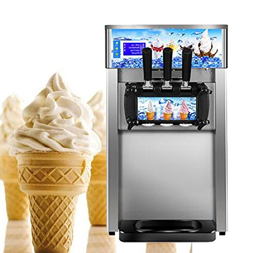 Vinmax Commercial Ice Cream Maker 18L/H Ice Cream Making Machine with 3 Flavors Output, 110V / 60Hz Low Energy Consumption Soft Ice Cream Machine with US plug (Shipping from US)