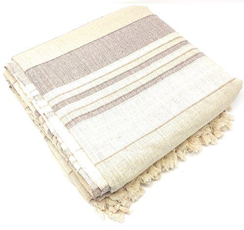Aga's Own - Colcha india XXL para sofá o cama (algodón indio, 220 x 250 cm), diseño indio, color beige claro