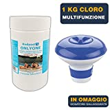 1kg Cloro in pastiglie multiazione per piscina gr 200 pastiglie cloro 3 in 1 multiazione cloro | Antialghe | Flocculante trattamento manutenzione acqua piscina | Con dosatore galleggiante INCLUSO