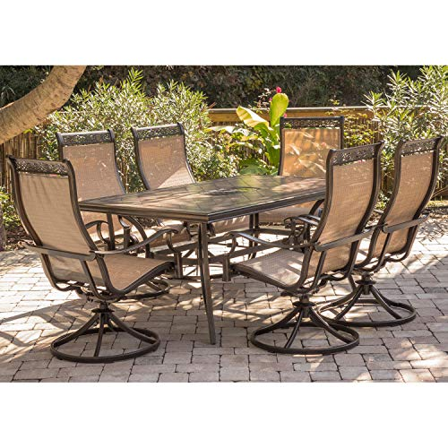 Hanover Monaca 7-Piece Cast Aluminum Outdoor Patio Dining Set, 6 Sling Swivel Rocker Chairs and 40