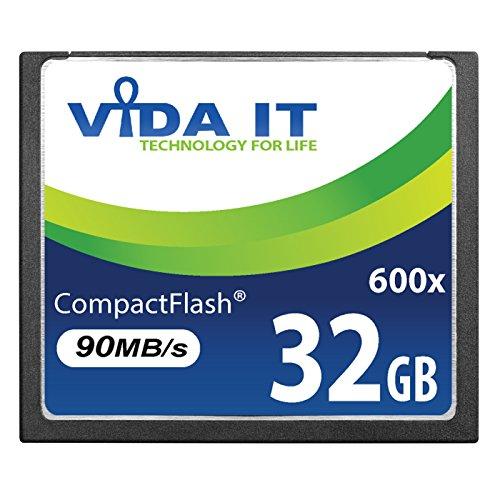 Vida IT 32GB Compact Flash CF Tarjeta de Memoria 600x 90MB / s para Canon EOS 10D 20D 20Da EOS 300D EOS 30D 350D EOS 400D 40D EOS 50D 5D Mark II EOS 7D EOS D30 SLR Cámara Digital