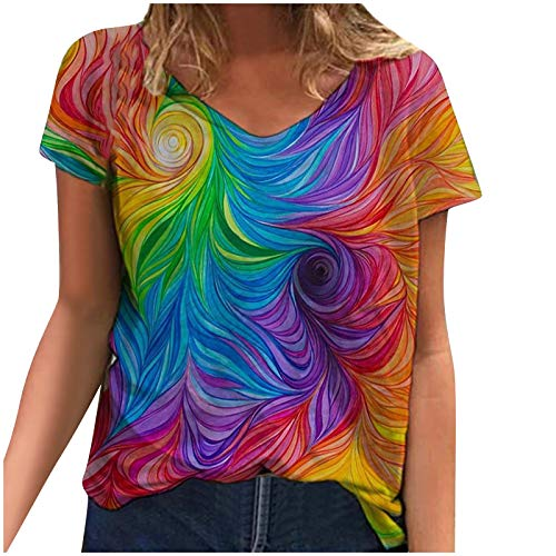 YAAY Camiseta casual de manga corta con cuello en V para mujer, diseño floral, estampado abstracto, gráfico básico de verano